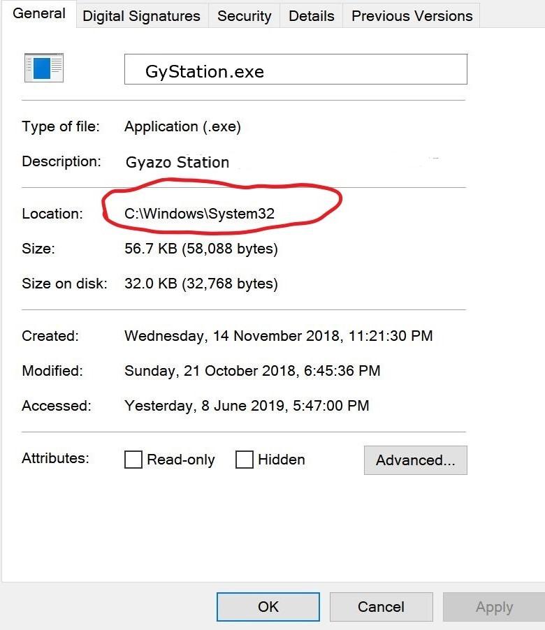 Gystation Exe location