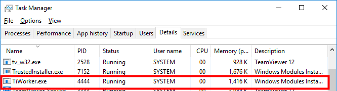 picture of tiworker in windows task manager